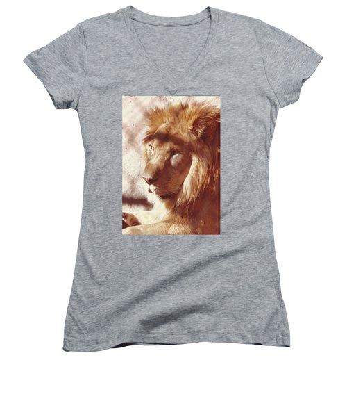 Majestic Lion Women's V-Neck T-Shirt (Junior Cut) by Margaret Harmon