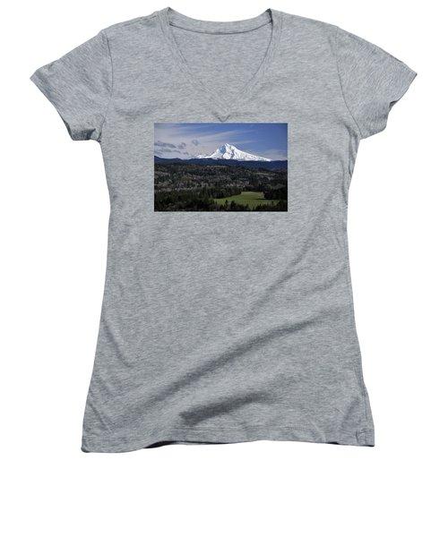Majestic Mt Hood Women's V-Neck T-Shirt (Junior Cut) by Jim Walls PhotoArtist