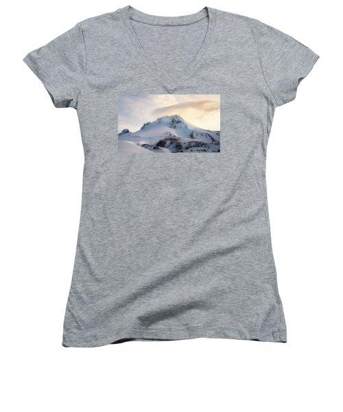 Women's V-Neck T-Shirt (Junior Cut) featuring the photograph Majestic Mt. Hood by Ryan Manuel
