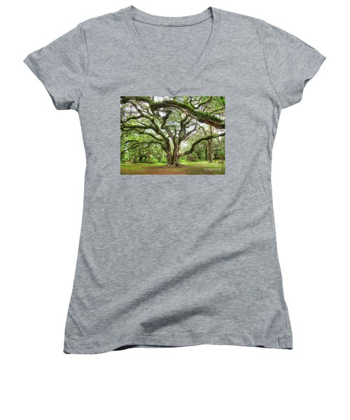 Majestic Oak Women's V-Neck T-Shirt (Junior Cut) by Myrna Bradshaw