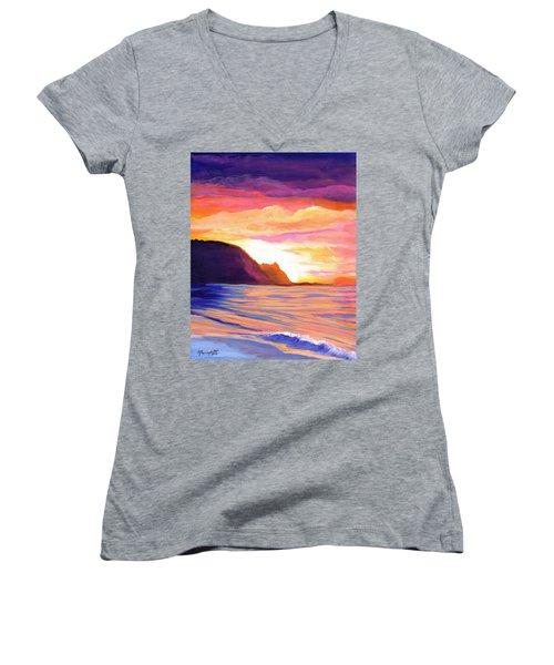 Makana Sunset Women's V-Neck T-Shirt (Junior Cut) by Marionette Taboniar