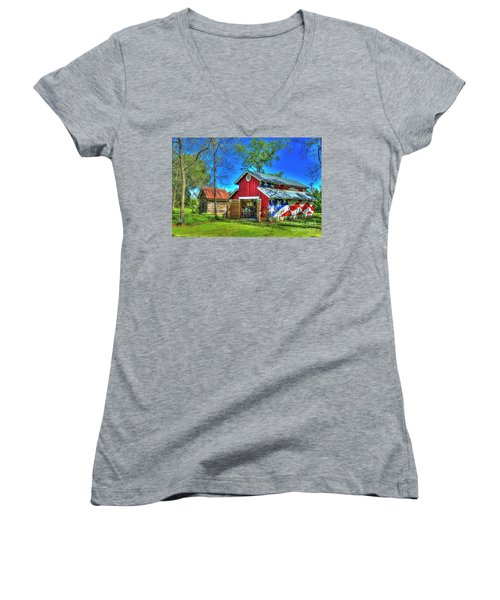 Women's V-Neck T-Shirt (Junior Cut) featuring the photograph Make America Great Again Barn American Flag Art by Reid Callaway