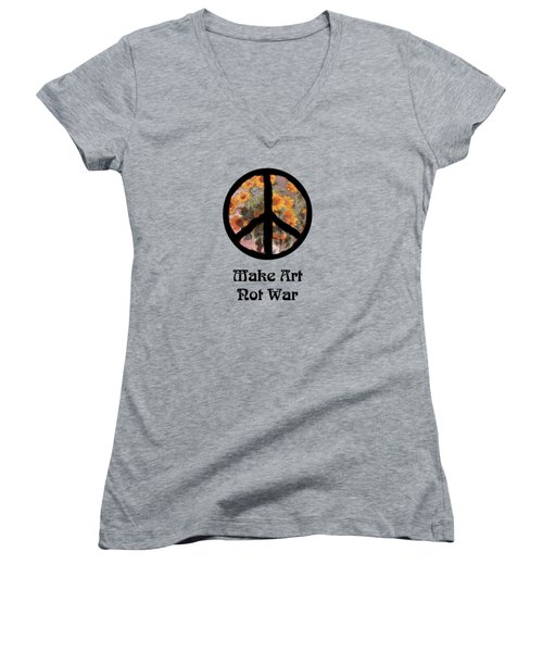 Make Art Not War Peace Sign Women's V-Neck T-Shirt