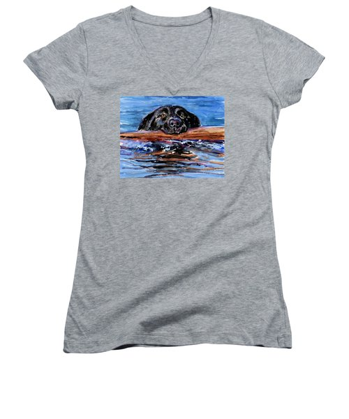 Women's V-Neck T-Shirt (Junior Cut) featuring the painting Make Wake by Molly Poole