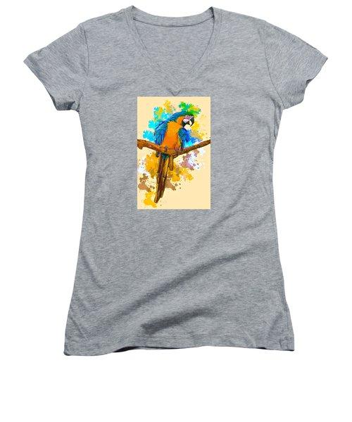 Women's V-Neck T-Shirt (Junior Cut) featuring the photograph Making A Splash by Brian Tarr