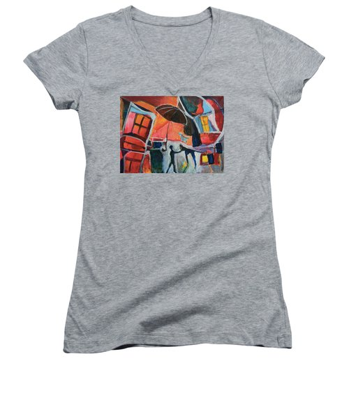 Women's V-Neck T-Shirt (Junior Cut) featuring the painting Making Friends Under The Umbrella by Susan Stone
