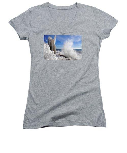 Making More Ice Women's V-Neck T-Shirt (Junior Cut) by Sandra Updyke