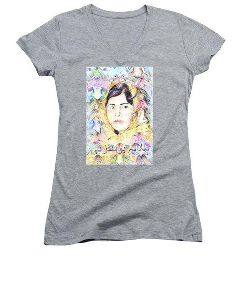 Malala-don't Ignore Us-sombra De Arreguin Women's V-Neck