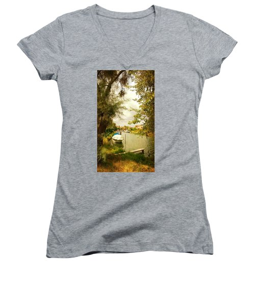 Women's V-Neck T-Shirt (Junior Cut) featuring the photograph Malamocco Canal No1 by Anne Kotan