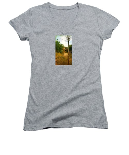 Women's V-Neck T-Shirt (Junior Cut) featuring the photograph Malamocco Canal No2 by Anne Kotan