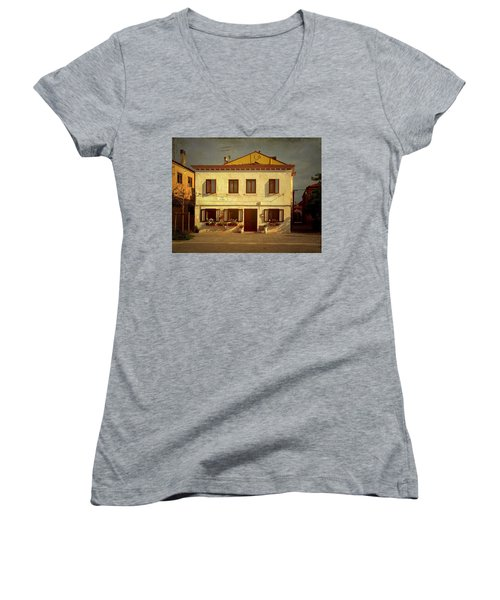 Women's V-Neck T-Shirt (Junior Cut) featuring the photograph Malamocco House No1 by Anne Kotan