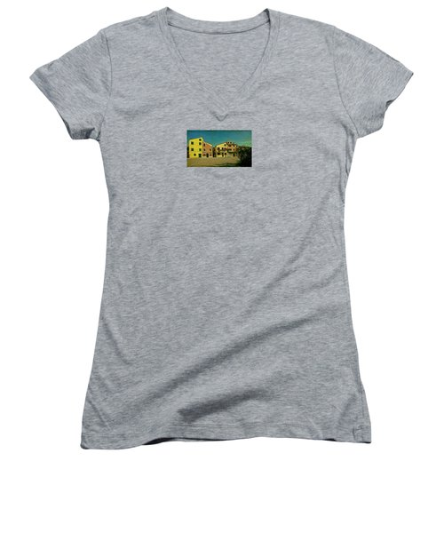 Women's V-Neck T-Shirt (Junior Cut) featuring the photograph Malamocco Main Street No1 by Anne Kotan