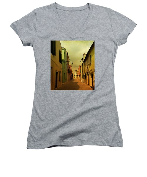 Women's V-Neck T-Shirt (Junior Cut) featuring the photograph Malamocco Perspective No1 by Anne Kotan