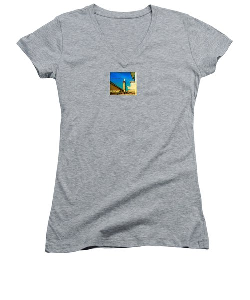 Women's V-Neck T-Shirt (Junior Cut) featuring the photograph Malamoccoskyline No1 by Anne Kotan