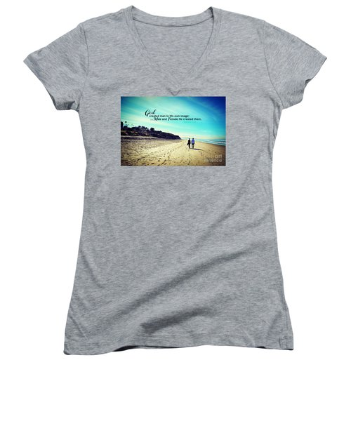 Male And Female He Created Them Women's V-Neck T-Shirt (Junior Cut) by Sharon Soberon