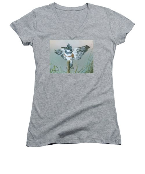 Male Belted Kingfisher Women's V-Neck