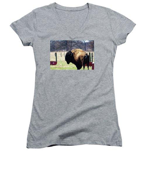 Male Bison Women's V-Neck