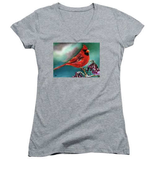 Male Cardinal And Snowy Cherries Women's V-Neck (Athletic Fit)