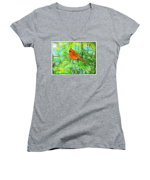 Male Cardinal In Juniper Tree Women's V-Neck (Athletic Fit)