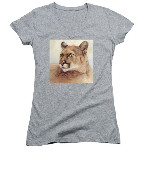 Women's V-Neck T-Shirt (Junior Cut) featuring the painting Male Cougar by Bonnie Rinier