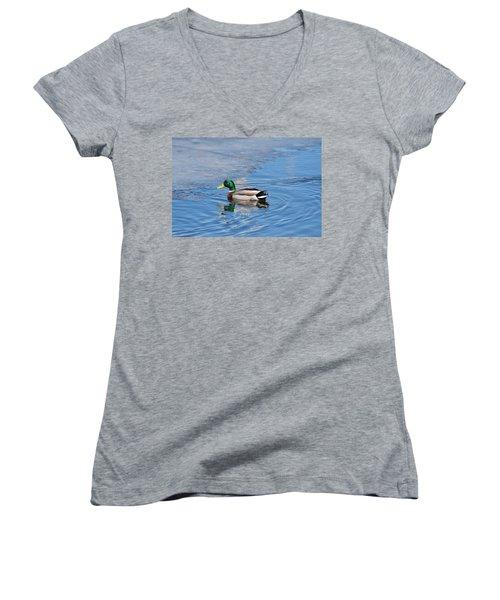 Male Mallard Duck Women's V-Neck T-Shirt (Junior Cut) by Michael Peychich