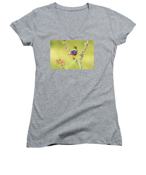Male Painted Bunting #2 Women's V-Neck T-Shirt (Junior Cut) by Tom and Pat Cory