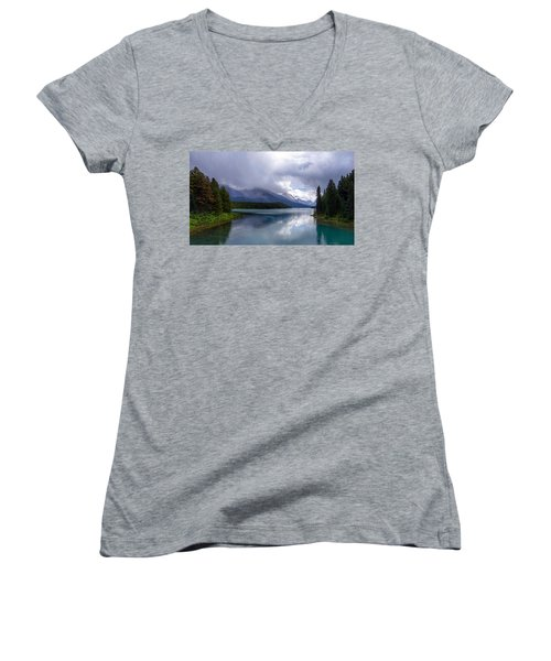 Maligne Lake Women's V-Neck T-Shirt (Junior Cut) by Heather Vopni