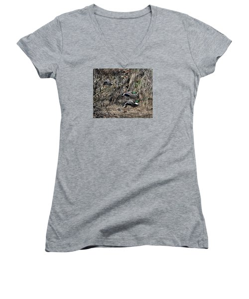 Women's V-Neck T-Shirt (Junior Cut) featuring the photograph Mallard Ducks 1 by David Lester