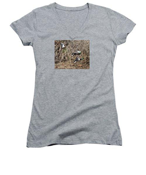 Mallard Ducks 2 Women's V-Neck T-Shirt