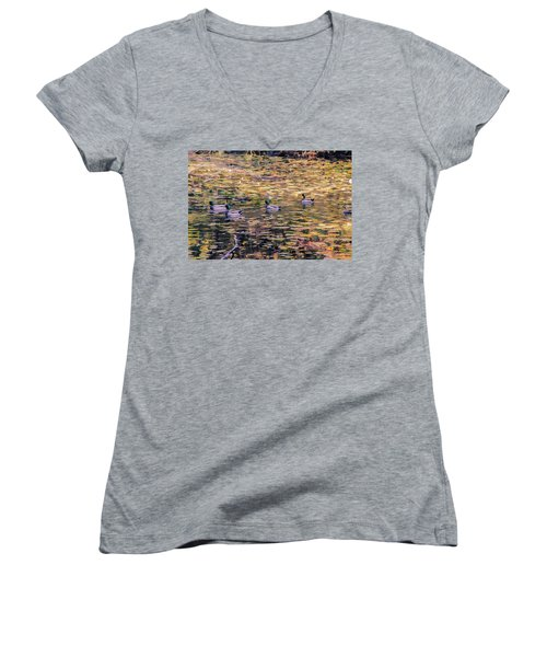 Mallards On Autumn Pond Women's V-Neck