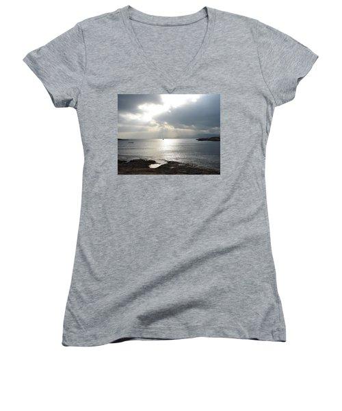 Mallorca Women's V-Neck T-Shirt (Junior Cut) by Ana Maria Edulescu