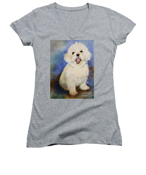 Maltese Named Ben Women's V-Neck T-Shirt (Junior Cut) by Marilyn Jacobson