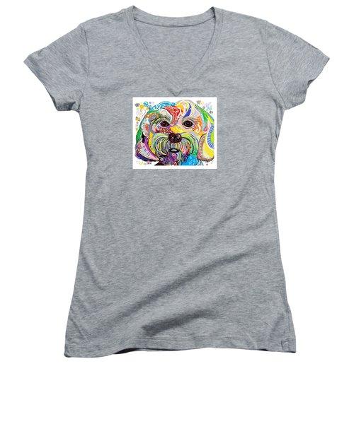 Maltese Puppy Women's V-Neck T-Shirt (Junior Cut) by Eloise Schneider