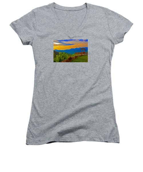 Blue Ridge Sunset From Mama Gertie's Hideaway Women's V-Neck T-Shirt