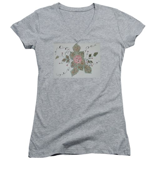 Mama Rose And Her Babies Women's V-Neck T-Shirt (Junior Cut) by Sharyn Winters
