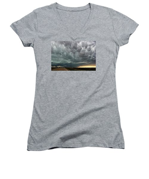 Mammatus Over Montata Women's V-Neck T-Shirt (Junior Cut) by Ryan Crouse