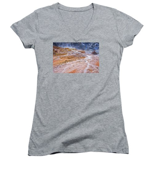 Mammoth Terraces Of Yellowstone Women's V-Neck (Athletic Fit)