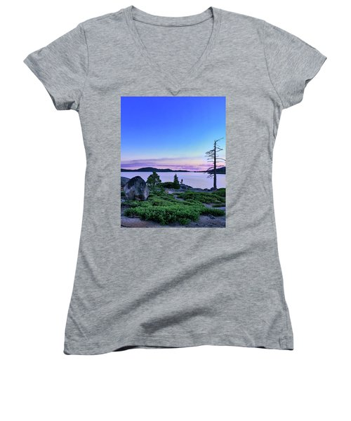Women's V-Neck featuring the photograph Man And Dog by Jim Thompson