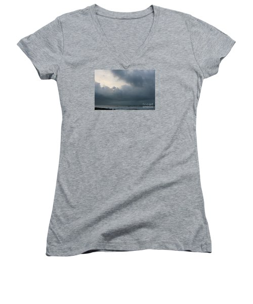 Women's V-Neck T-Shirt (Junior Cut) featuring the photograph Man And Nature by Jeanette French