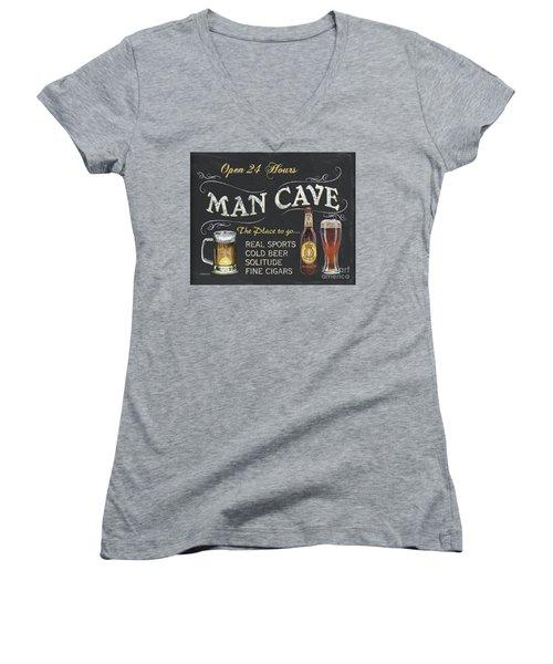 Man Cave Chalkboard Sign Women's V-Neck T-Shirt (Junior Cut) by Debbie DeWitt