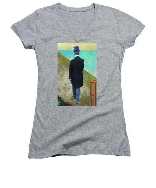 Man In Hat Women's V-Neck T-Shirt (Junior Cut)