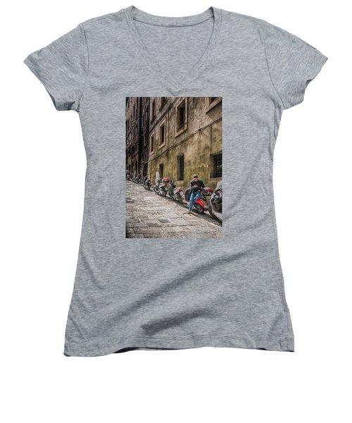Man On A Scooter Siena-style Women's V-Neck T-Shirt