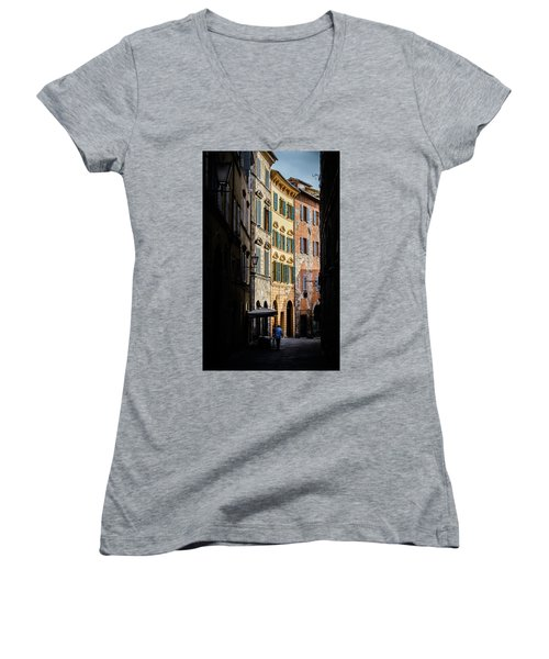 Man Walking Alone In Small Street In Siena, Tuscany, Italy Women's V-Neck