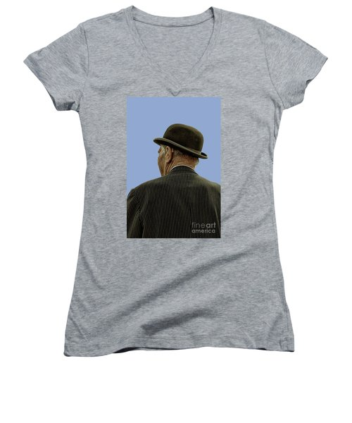 Man With A Bowler Hat Women's V-Neck