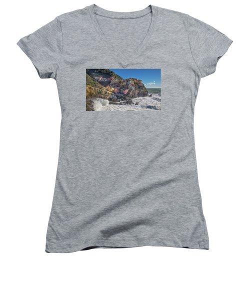 Manarola In Cinque Terre  Women's V-Neck (Athletic Fit)