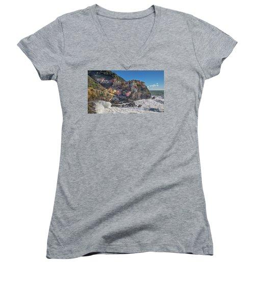 Manarola In Cinque Terre  Women's V-Neck T-Shirt