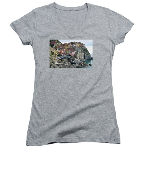 Women's V-Neck T-Shirt (Junior Cut) featuring the photograph Manarola Version Two by Frozen in Time Fine Art Photography
