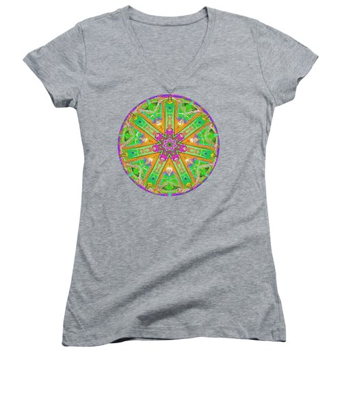 Women's V-Neck featuring the painting Mandala 12 27 2015 Kings And Priests by Hidden Mountain