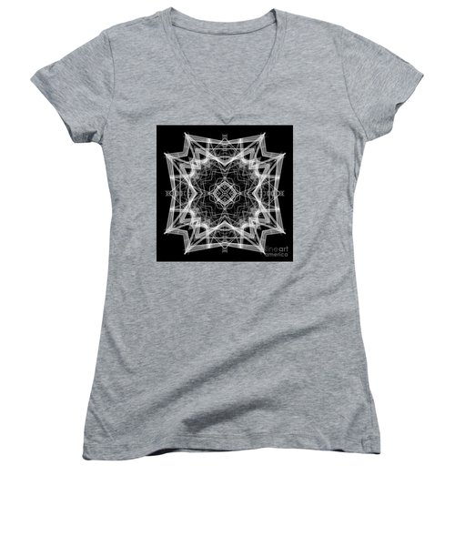 Women's V-Neck T-Shirt featuring the digital art Mandala 3354b In Black And White by Rafael Salazar