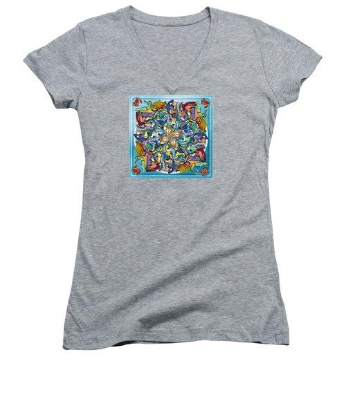 Mandala Fish Pool Women's V-Neck T-Shirt (Junior Cut) by Bedros Awak